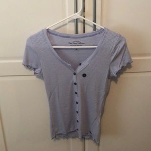 Hollister ribbed striped buttoned t-shirt
